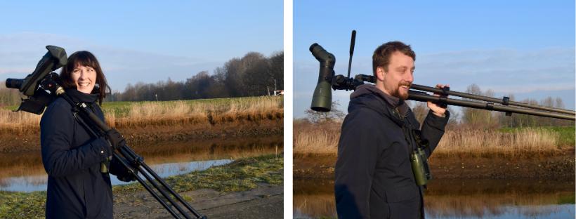 Les ornithologues Anna Schneider et Wout De Rouck