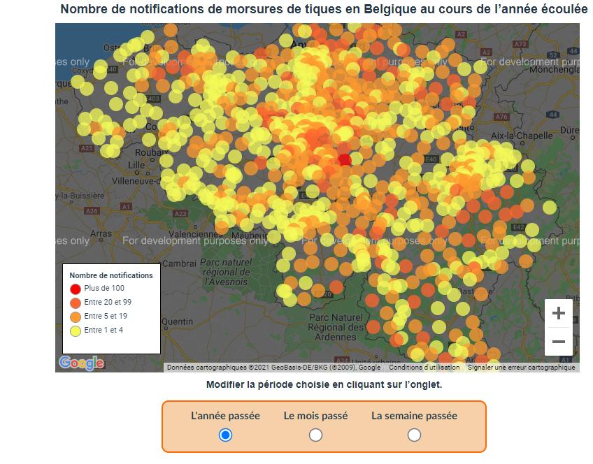 Cartographie des morsures de tiques au cours de l'année dernière