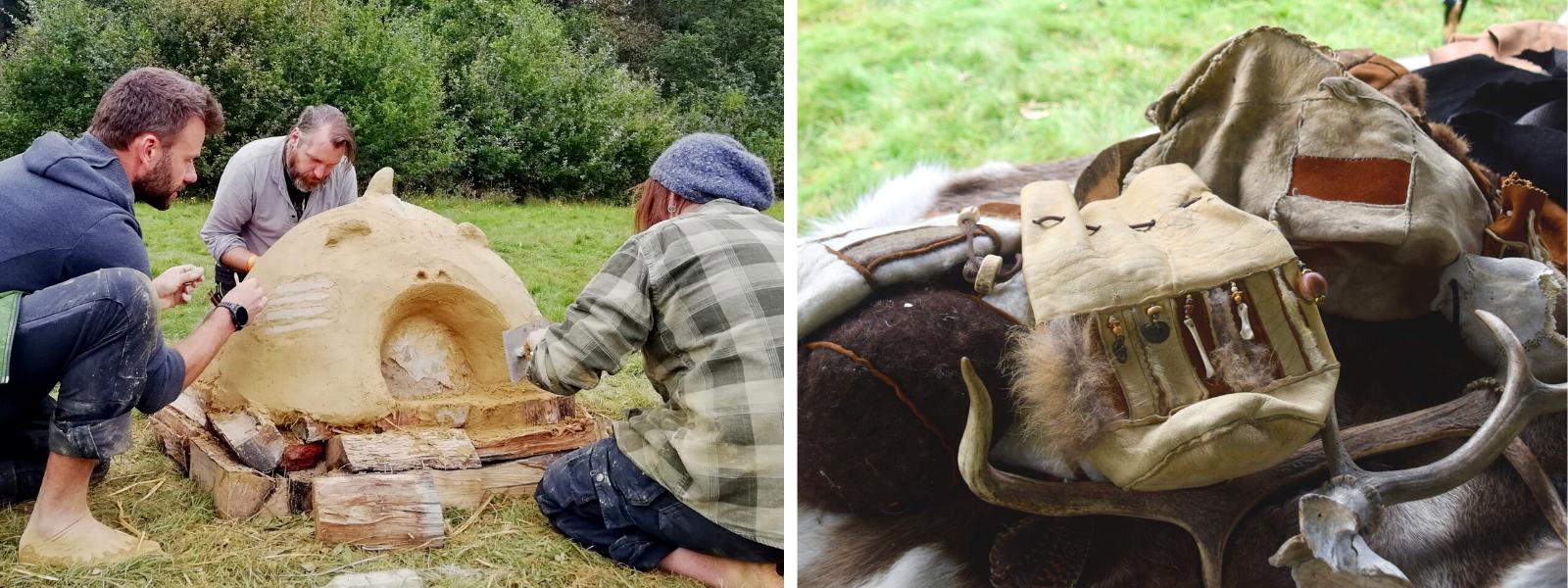 A gauche : un four en argile fait main, à droite : une besace sami